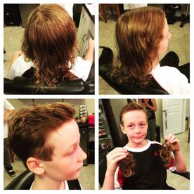 collage of a boy after hair cut